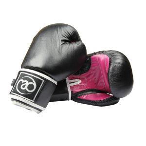 FitnessMAD™ - Bokshandschoen dames - Leder - Paar- 8 oz - Zwart/Roze