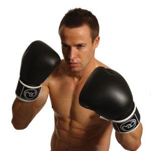 FitnessMAD™ - Bokshandschoen - Leder - Paar- 10 oz - Zwart/Wit