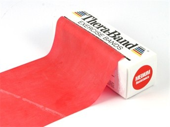 Theraband 5,5 meter rol in de kleur ROOD. (Medium weerstand)